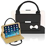 GEMWON Case for IPad Mini 1/2/3/4, Cute Handbag Case for Women,Protective PU Leather Three Angles Holder Cover with Auto Sleep/Wake Function for IPad Mini 1/2/3/4 - Black