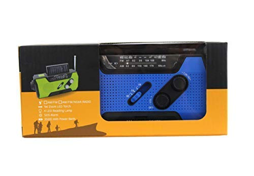BLUEGOBY Solar Crank NOAA Emergency Weather Radio with AM/FM, Flashlight, Reading Lamp and 2000mAH Power Bank Disaster Phone Charger with Fire Starter Stick (Blue) by BLUEGOBY (Image #2)