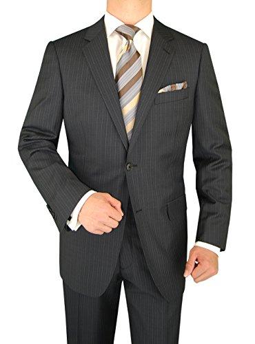 Two Button Gray Stripe (Luciano Natazzi Men's Two Button Canali Cashmere Wool Gray Stripe Suit (44 Long US / 54 Long)