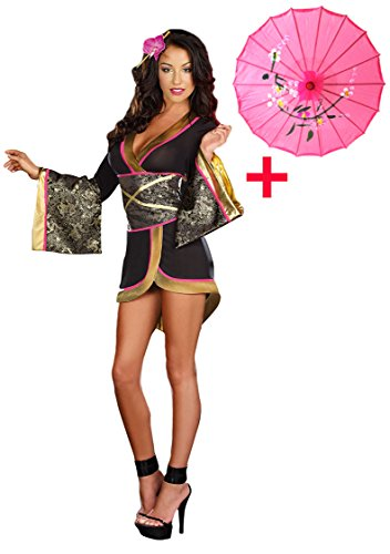 Geisha Halloween Makeup (GRACES New Style Japanese Geisha kimono Black Sexy Costume + Japanese Coarse Oilpaper Umbrella)
