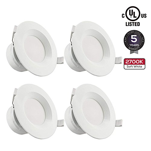 """TORCHSTAR 4 PACK 4""""LED Recessed Downlight with Junction Box, 7W (60W Equivalent) Dimmable LED Ceiling Light Fixture, IC-Rated & Air Tight, Wet Location, 2700K Soft White, UL-listed, 5 Years Warranty by TORCHSTAR"""