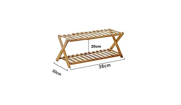 RFJJAL Shoe Rack 2 Niveles Plegable De Bambú Simple Shoe ...