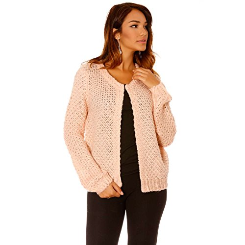 Miss Wear Line Gilet rose en grosse maille