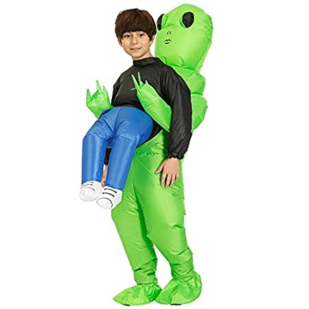 Gizayen Green Alien Carrying Human Costume Inflatable Funny Blow ...