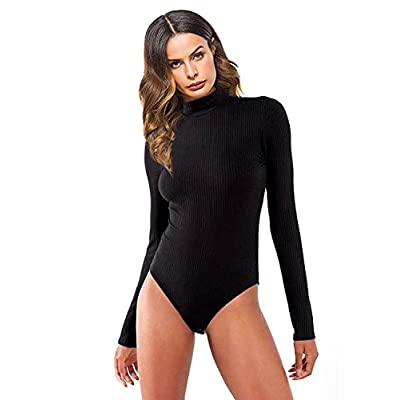 Queen.M Women's Basic Solid Bodysuit Turtleneck Leotard Top Long Sleeve Bodycon Jumpsuit Stretchy Romper: Clothing