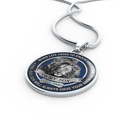 To My Son Pendant Necklace Love Dad Father and Son Lion - Inspirational Personalized Birthday Gifts for Teen Son, Tween Boy - This old Lion will always have your back by AZ Family Gift (Image #2)