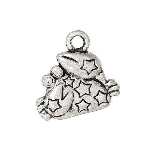 Paquet 10 x Argent Antique Tibétain 14mm Breloques Pendentif (Cancer) - (ZX12715) - Charming Beads