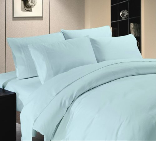 - Comfort Beddings Luxurious 600-Thread Count 100% Egyptian Cotton 4pc Attached Water Bed Sheet Set California King Size Light Blue Solid