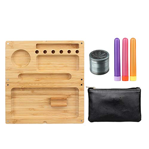 FIREDOG Rolling Tray Bundle Kit - 6 Items - Bamboo Magnetic Tray, 1.5 Inch Ginder, 3X Cigarette Paper Depot Tube,Black Tobacco Pouch ()