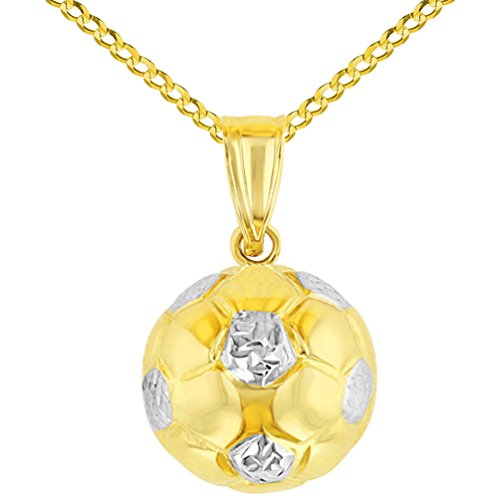 High Polished 14K Yellow Gold Soccer 3D Ball Charm Sports Pendant with Cuban Chain Necklace, 16