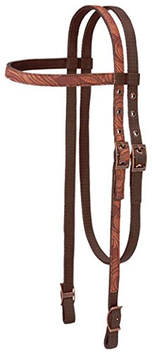 Tough-1 Print Browband Headstall - Tooled Leather (Headstall Nylon)