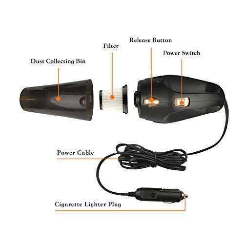 seco//Mojado de Doble Uso cami/ón SUV y Uso dom/éstico Devels Aspirador de Mano para Coche de 12 V de Alta Potencia con Cable autom/ático Aspirador con luz LED Potente succi/ón HEPA- Filtro para Coche