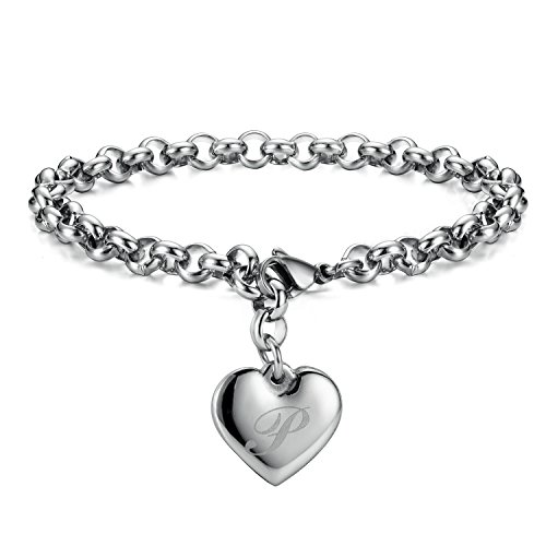 Monily Initial Charm Bracelets Stainless Steel Heart Letters P Alphabet Bracelet for Women
