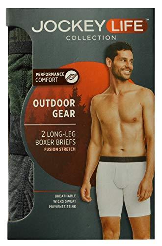 Jockey Life 2-Pack Outdoor Gear Fusion Stretch Long-Leg Boxer Briefs - Mossy Green/Gray Heather (L) (Mens Outdoor Underwear)