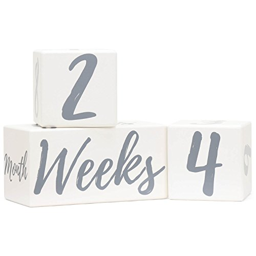 Baby Milestone Blocks | Pregnancy Baby Newborn Toddler Weekly Monthly Yearly Age | Premium Solid Wood Boys Girls Photo Props | Perfect Baby Shower Gift | Gender Neutral Keepsake for Photo Sharing by Baby Swagg