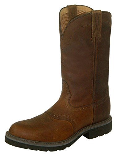 Twisted X Men's Pullon Work Boot Round Toe Brown 12 D(M) US -