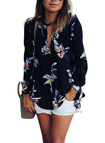 WLLW Women Casual See Through Floral Print Long Sleeve Chiffon Shirt Blouse Tops
