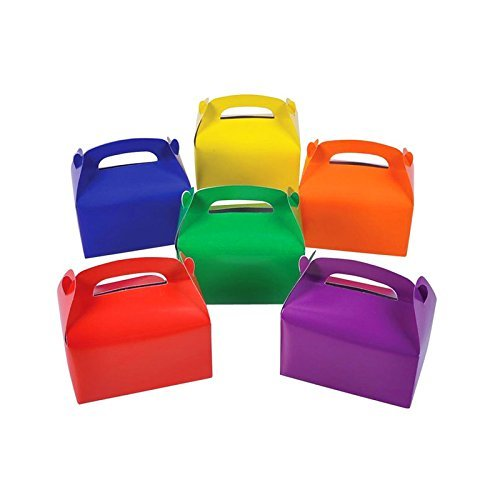 Adorox (6 x 3.5 x 3.25, Assorted 24Pk) Large Lightweight Assorted Bright Rainbow Colors Cardboard Favor Boxes Treat Goody Bags Birthday Party Event Gift
