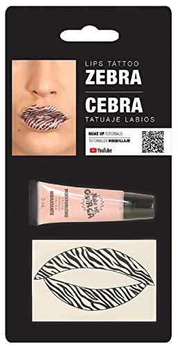 Ladies Zebra Animal Print Lip Transfers Lip Stick Make Up Special Effects Face Paint Fancy Dress Costume Outfit Accessory (Zebra)]()