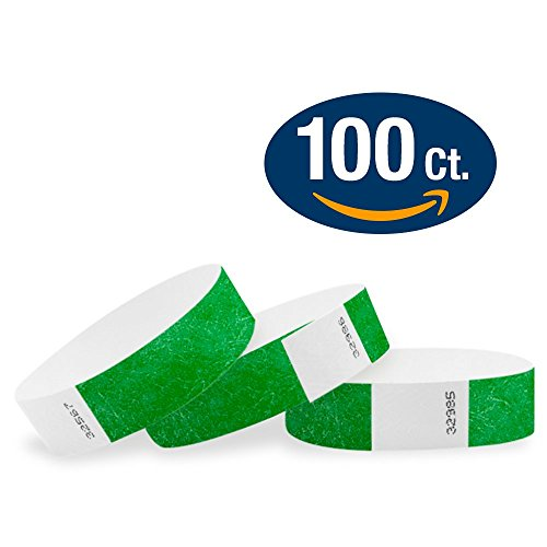 "WristCo Kelly Green 3/4"" Tyvek Wristbands - 100 Pack Paper Wristbands For Events"