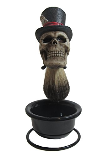 Hats Greaser (Custom Lucky 13 Top Hat Skull Badger Hair Shave Brush and)