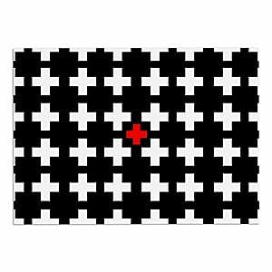 "on sale KESS InHouse SC2112ADM02 Suzanne Carter ""Swiss Cross"" Black White Dog Place Mat, 24"" x 15"""