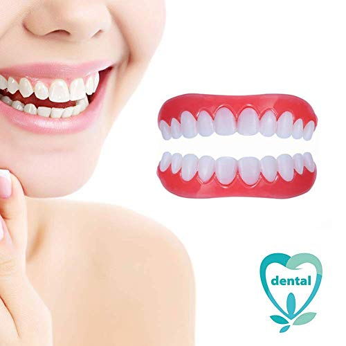 (DYSEL Perfect Smile Veneers Temporary Cosmetic Teeth Instant Snap on Natural Color Upper and Lower 2pcs)