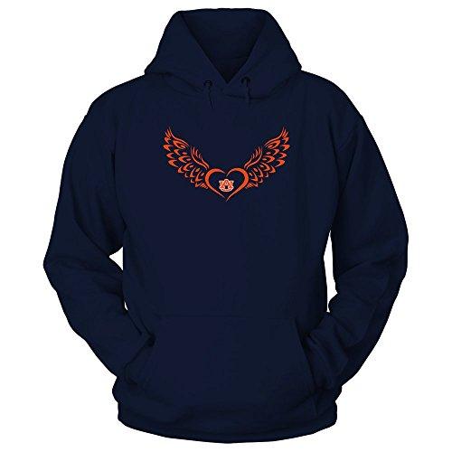 FanPrint Auburn Tigers Hoodie - Flying Heart - Hoodie/Navy / 3XL
