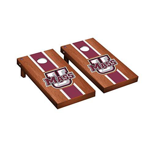 Victory Tailgate Regulation Collegiate NCAA Rosewood Stained Stripe Series Cornhole Board Set - 2 Boards, 8 Bags - Massachusetts UMass - Bag Massachusetts