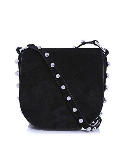 Alexander Wang Women's Mini Lia Suede Saddle Bag Black