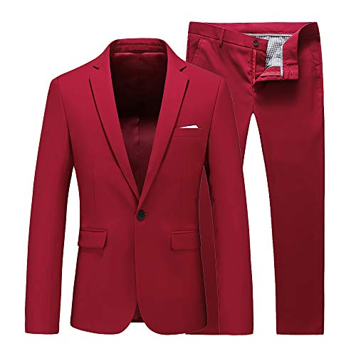 Mens Two Piece Set for Business Formal Wedding Suits Classic Fit US Size 36 (Label Size 2XL) Red ()