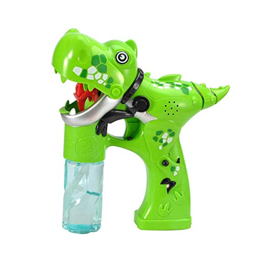 ERLOU Kids Education Toys Dinosaur Bubble Light Up Bubbles Blower with LED Flashing Lights and Sounds Safe Eco- Friendly ABS Toy (Green)]()