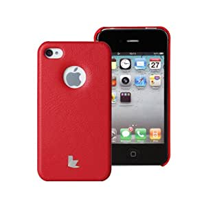 Jisoncase Red Slim Fit High-tech Leather Hard Back Case Cover for Iphone 4s JSIP-005