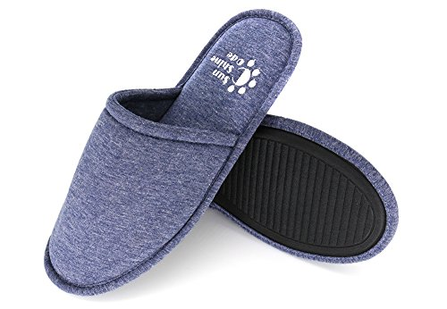Men's Cotton Indoor Washable Slippers in Travel Bag for Home Hotel Spa Bedroom, M, Navy SC-SS-01D10