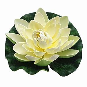 ZHU YU CHUN Large Artificial Floating Lotus Flowers, Home Garden Pond Aquarium Wedding Decor, White (Pack of 4)