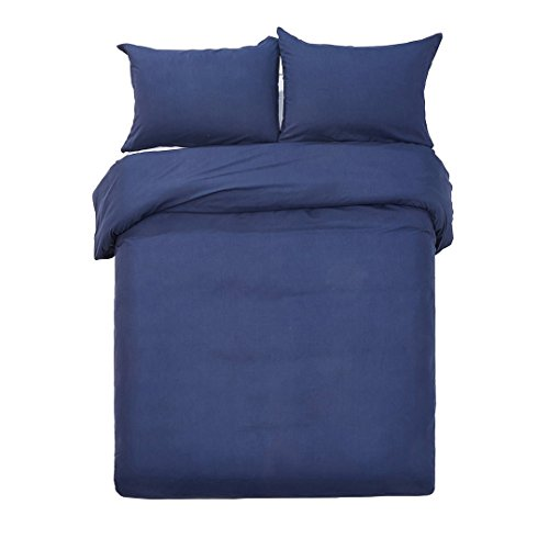 Word of Dream Brushed Microfiber Duvet Cover Set - Lightweight and Soft - Twin, Navy (Puckering Duvet Cover)