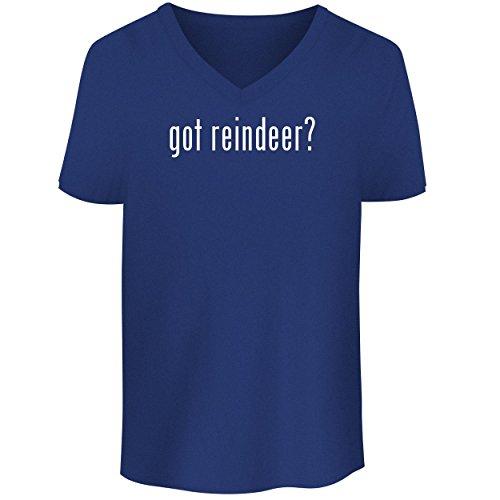 Glass Spun Reindeer (BH Cool Designs got Reindeer? - Men's V Neck Graphic Tee, Blue, X-Large)