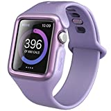 Clayco Apple Watch Band 38 mm, [Hera Series] Ultra Slim Protective Shock Resistant Bumper Case with Strap Bands for 38mm Apple Watch Series 3 2017/Series 2/Series 1 (Purple)
