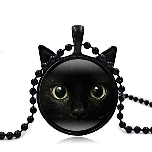 Personalized Necklace, Botrong Cute Black Cat Art Picture Pendant Statement Chain Necklace (Black) - Mood Pearl