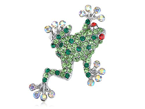 - Alilang Silvery Tone Green Rhinestones Poison Water Frog Toad Brooch Pin