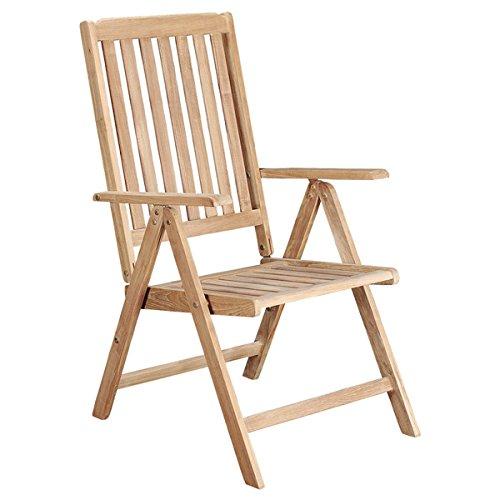 チーク材パティオ椅子 – Natural Finished、調整可能なパティオリクライニング椅子 – - No Assembly Required B01E08UR64