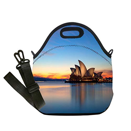 Lunch Box Insulation Lunch Bag Large Cooling Tote Bag Neoprene Insulated Lunch Tote Bag Dawn Breaks Over The Sydney Opera House Lunch Bag- Insulated and Reusable Artful Design ()