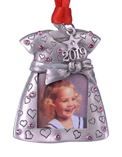 2019 Baby Girl Photo Christmas Ornament Pewter with Rose color Austrian Crystals MADE IN USA