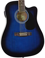 Blue Full Size Thinline Acoustic Electric Guitar with Free Gi...