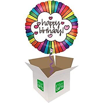 InterBalloon Helium Inflated Retro Rainbow Birthday Balloon Delivered In A Box Amazoncouk Toys Games