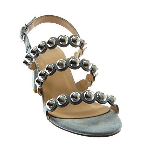 Haut Lanière Chaussure Perle Talon Cheville Bloc cm 6 Bride Mode Femme Sandale Multi Clouté Angkorly clair Escarpin 5 Bleu q7dIBwxIv
