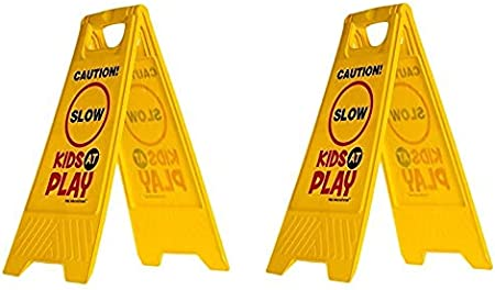 Essentially Yours 2 Pack Kids Playing Safety Floor Sign for Yards and Driveways Double-Sided, Red Slow - Caution Kids at Play