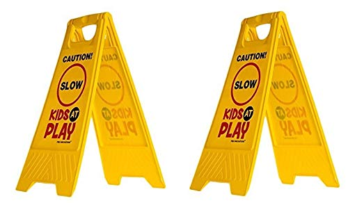 Essentially Yours 2 Pack Kids Playing Safety Sign (Double-Sided, Yellow) - Caution, Slow, Kids at Play Caution Children Playing Signs