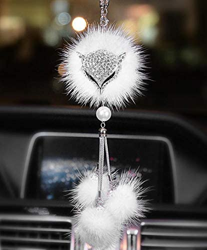 Pink SZWGMY Beautiful Fox Car Auto Rearview Mirror Pendant Car Hanging Ornament Car Pendant Interior Decoration Accessories