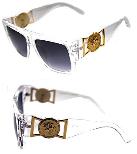 MEN'S FLAT TOP GOLD COIN DESIGNER HIP HOP VINTAGE 424 RETRO 80'S 90'S (Clear Gold, Black)